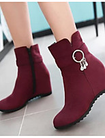 Women's Boots Combat Boots PU Spring Fall Casual Combat Boots Blue Ruby Black Under 1in