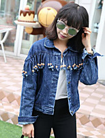 Women's Casual/Daily Simple Spring Fall Denim Jacket,Solid Shirt Collar Long Sleeve Short Cotton