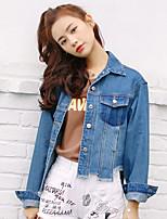 Veste en jean Femme,Couleur Pleine Décontracté / Quotidien simple Automne Manches longues Col de Chemise Normal Polyester