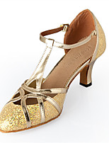 Women's Latin Glitter Heels Performance Flared Heel Silver Gold