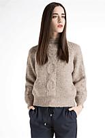 Для женщин На каждый день Простое Короткий Пуловер Однотонный,Хомут Длинный рукав Шерсть Хлопок Полиэстер Осень Зима Средняя