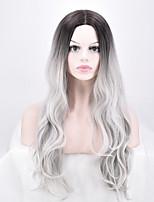Femme Long Gris Ondulés Ombre Hair Cheveux Synthétiques Sans bonnet Perruque Naturelle
