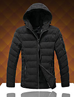 Men's Short Padded Coat,Simple Going out Work Striped-Cotton Cotton Long Sleeves