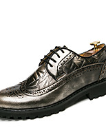 Men's Shoes Real Leather Fall Winter Comfort Wedding Shoes Lace-up For Wedding Party & Evening Gold Black Wine