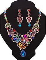Damen Tropfen-Ohrringe Halskette Modisch individualisiert Luxus-Schmuck Zirkon Aleación Schleifenform FürHochzeit Party Geburtstag