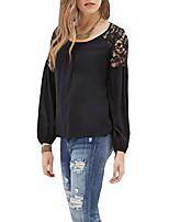 Women's Casual/Daily Sexy Fall Blouse,Solid Round Neck Long Sleeves Polyester Thin