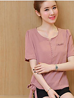 Women's Casual/Daily Simple Summer T-shirt,Solid Round Neck Short Sleeve Others