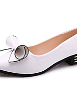 Damen Flache Schuhe Komfort PU Sommer Normal Schleife Flacher Absatz Weiß Schwarz Rot Rosa Flach