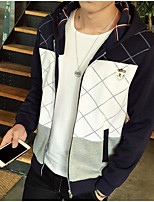 Men's Going out Hoodie Solid Striped Print Hooded Micro-elastic Cotton Acrylic Polyester Long Sleeve Winter Spring Fall