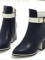 Feminino Sapatos Couro Ecológico Outono Inverno Conforto Botas Para Casual Preto Vermelho