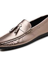 Для мужчин Мокасины и Свитер Удобная обувь Полиуретан Весна Осень Повседневные На плоской подошве Черный Серебряный На плоской подошве