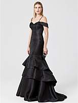 Mermaid / Trumpet Off-the-shoulder Sweep / Brush Train Satin Formal Evening Dress with Tiered by TS Couture®