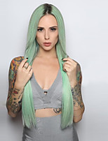 Fashion Ombre Mint Green Long Straight Synthetic Wig Glueless Black/Mint Green Heat Resistant Hair Women Wigs