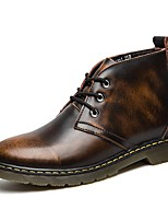 Men's Boots Fashion Boots Bootie Combat Boots Real Leather Cowhide Fall Winter Casual Outdoor Office & Career Lace-up Flat HeelBurgundy