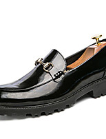 Men's Loafers & Slip-Ons Formal Shoes Fall Winter Patent Leather Casual Outdoor Office & Career Party & Evening Black White 1in-1 3/4in