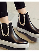 Women's Boots Comfort Fashion Boots Fall Winter Real Leather PU Casual White Black Ruby Flat