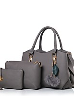 Women Bag Sets PU All Seasons Casual Baguette Zipper Blue Black Blushing Pink Gray Wine