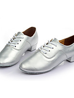 Men's Latin Leatherette Sneakers Training Customized Heel Silver 1