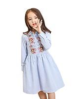 Vestido Chica de A Rayas Manga Larga Verano Otoño
