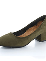 Femme Chaussures à Talons Confort Semelles Légères Cuir Nubuck Printemps Automne Décontracté Marche Gros Talon Noir Vert Chameau 5 à 7 cm