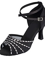 Women's Latin Satin Sandals Indoor Rhinestone Customized Heel White Black