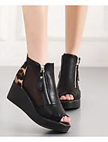 Women's Sandals Comfort Summer Cowhide Casual Black Leopard 3in-3 3/4in