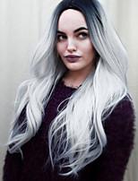 Las pelucas naturales sintético Sin Tapa pelucas Medio Gris oscuro Cabello