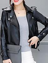 Для женщин На каждый день Осень Кожаные куртки Рубашечный воротник,Простой Однотонный Короткая Длинный рукав,Полиуретановая