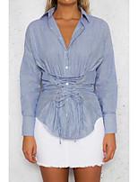 Для женщин На выход На каждый день Лето Осень Рубашка Рубашечный воротник,Простое Полоски Длинный рукав,Хлопок Полиэстер,Тонкая Средняя