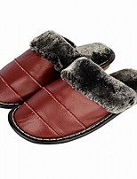 Women's Slippers & Flip-Flops Comfort Fall Winter Cowhide Casual Split Joint Flat Heel Orange Purple Ruby Burgundy Flat