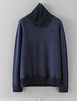 Men's Going out Sweatshirt Solid Round Neck Micro-elastic Cotton Long Sleeve Fall Winter