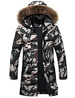 Men's Down Coat,Active Plus Size Leopard-Others White Duck Down Long Sleeve