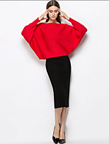 YIPINWAN Women's Casual/Daily Simple Fall Winter T-shirt Skirt SuitsSolid Round Neck Long Sleeve