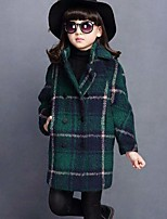 Girls' Plaid Jacket & Coat,Cotton Fall Winter Long Sleeve