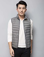 Men's Regular Down Coat,Simple Plus Size Casual/Daily Solid-Polyester White Duck Down Sleeveless