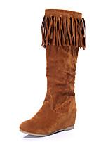 Для женщин Ботинки Верховые ботинки Модная обувь сутулятся сапоги Дерматин Зима Повседневные Для праздника Кисти На танкеткеЧерный