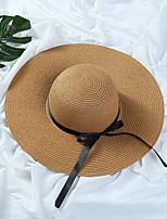 Для женщин На каждый день Шапки Соломенная шляпа Шляпа от солнца,Лето Солома Однотонный Чистый цвет