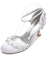 Feminino Sapatos De Casamento Conforto D'Orsay Cetim Primavera Verão Casamento Social Festas & Noite Pérolas Pérolas Sintéticas Vazados