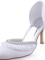 Women's Wedding Shoes Basic Pump Stretch Satin Spring Fall Wedding Party & Evening Crystal Stiletto Heel White 3in-3 3/4in