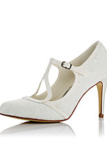Women's Heels Comfort Satin Fall Winter Wedding Party & Evening Dress Comfort Stiletto Heel Ivory 3in-3 3/4in