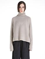 Для женщин На каждый день Простое Обычный Пуловер Однотонный Контрастных цветов,Хомут Длинный рукав Шерсть Полиэстер Осень Зима Толстая