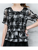 Women's Casual/Daily Simple Summer Blouse,Print Round Neck Short Sleeve Others