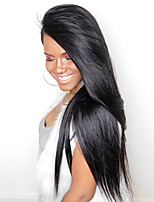 CARA Hair 250% Density Lace Front Human Hair Wigs Silky Straight Non-remy Hair Natural Black Color Medium Cap Size