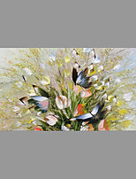 Hand-Painted Floral/Botanical Horizontal,Asian Pastoral Modern/Contemporary One Panel Canvas Oil Painting For Home Decoration
