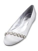 Feminino Sapatos De Casamento Conforto Bailarina Cetim Primavera Verão Casamento Social Festas & NoitePedrarias Pérolas Sintéticas Gliter