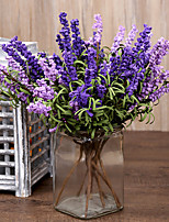 8 Heads/Branch Pastoralism PE Lavender Artificial Flowers