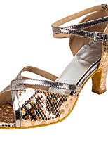 Women's Latin Paillette Leatherette Sandals Heels Professional Buckle Paillettes Customized Heel Gold 1