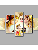 Stampa trasferimenti su tela Astratto,Cinque Pannelli Tela Orizzontale Stampa Decorazioni da parete For Decorazioni per la casa