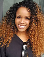 Ombre Color Lace Front Human Hair Wigs Kinky Curly with Baby Hair 180% Density Brazilian Virgin Hair Glueless Lace Wig for Woman