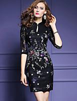 Для женщин На каждый день Большие размеры На выход Простое Уличный стиль Изысканный Облегающий силуэт Оболочка Кружева Платье Вышивка,